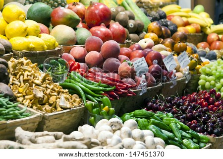 Various vegetables and fruit on a counter