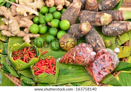 Various Vegetables and Herbs in Street Market