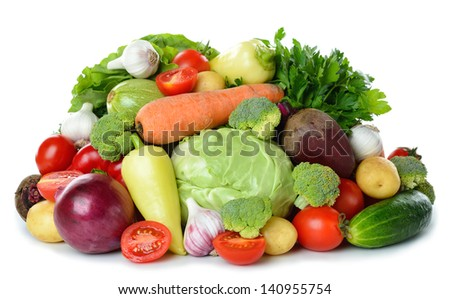 Various vegetables isolated on white background - stock photo