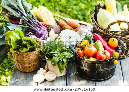 Various vegetables on a wooden table - healthy still life - stock photo