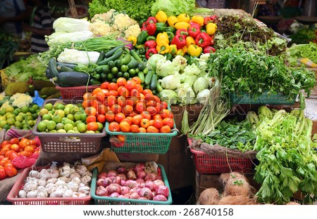 various vegetables on market in asia
