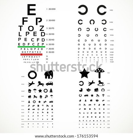 Various versions of the table for eye tests  the adult and children's options - stock photo