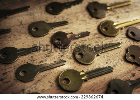 Various vintage brass keys aligned in the same direction on a old wooden desk. Security and encryption, concept image. High magnification macro.  - stock photo