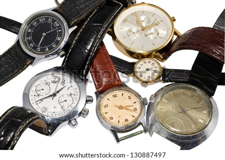 various watches isolated on a white background