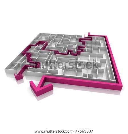 various ways of passing the maze - stock photo