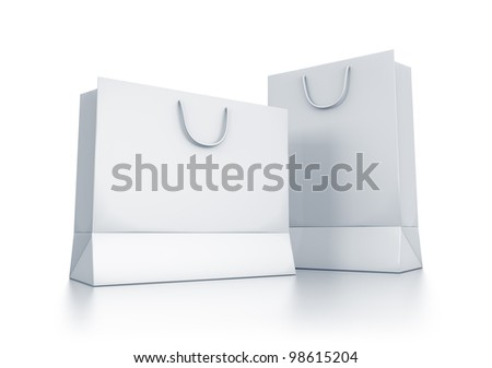 Various white bags. High resolution 3D illustration with clipping paths. - stock photo