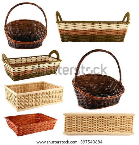 Various Wicker baskets collage isolated on white background. - stock photo