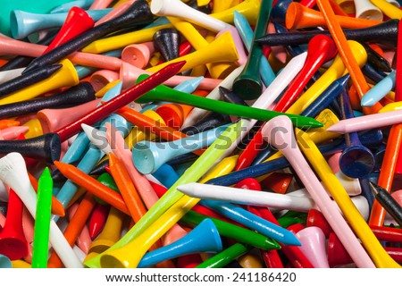 Various wooden golf tees in a box - stock photo