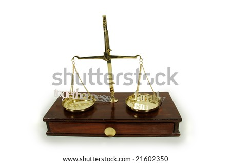 Various words describing family and togetherness, Brass and wood Scale used to weigh out small items - stock photo