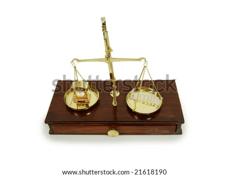 Various words describing family, clock measuring time,  Brass and wood Scale used to weigh out small items - stock photo