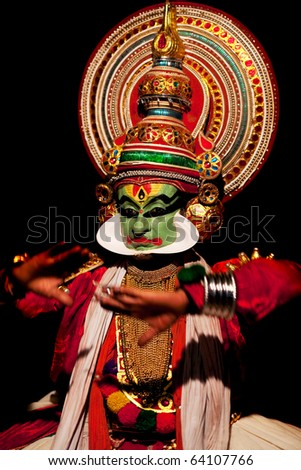 VARKALA, INDIA - FEBRUARY 03: Kathakali performer in the virtuous pachcha (green) role on February 03, 2010 in Varkala, South India. Kathakali is the ancient classical dance form of Kerala.
