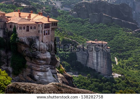 Varlaam monastery at Meteora in Trikala region in summer, Greece. - stock photo