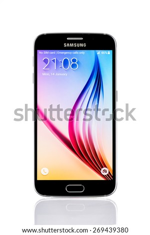 Varna, Bulgaria - April 13, 2015: Studio shot of a black Samsung Galaxy S6 smartphone, with 16 mP Camera, quad-core 2,7 GHz and 440 x 2560 pixels Display Resolution - stock photo