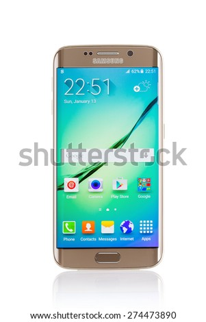 Varna, Bulgaria - April 13, 2015: Studio shot of a gold Samsung Galaxy S6 Edge smartphone, with 16 mP Camera, quad-core 2,7 GHz and 440 x 2560 pixels Display Resolution - stock photo