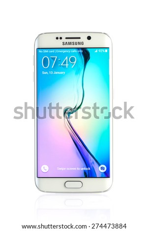 Varna, Bulgaria - April 13, 2015: Studio shot of a white Samsung Galaxy S6 Edge smartphone, with 16 mP Camera, quad-core 2,7 GHz and 440 x 2560 pixels Display Resolution - stock photo
