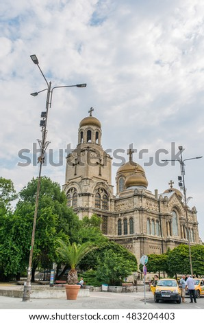 VARNA, BULGARIA - AUG 06, 2016: Cathedral The Assumption of Holy Mother. Architecture and streets of the town of Varna in Bulgaria. Picture taken during a trip to Bulgaria in the morning.
