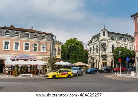 VARNA, BULGARIA - AUG 06, 2016: Crossroads streets San Stefano and Preslav.  Architecture and streets of the town of Varna in Bulgaria. Picture taken during a trip to Bulgaria in the morning.