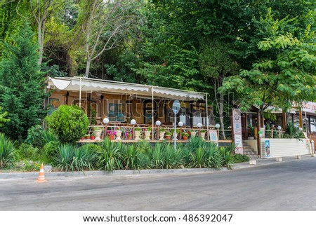 VARNA, BULGARIA - AUG 06, 2016: Restaurant Sea Paradise on the embankment. Architecture and streets of the town of Varna in Bulgaria. Picture taken during a trip to Bulgaria.