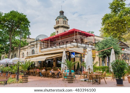 VARNA, BULGARIA - AUG 06, 2016: Theatre restaurant  on the Street Preslav. Architecture and streets of the town of Varna in Bulgaria. Picture taken during a trip to Bulgaria in the morning.