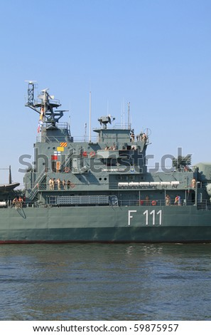 VARNA, BULGARIA - AUGUST 27: Romanian frigate MARASESTI is one of the ships to take part in the joint naval exercises on operational interaction named BLACKSEAFOR. August 27, 2010 in Varna, Bulgaria.