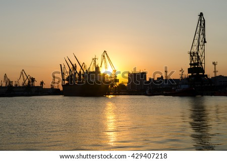 VARNA, BULGARIA - AUGUST 05, 2015: Sunset at the docklands.