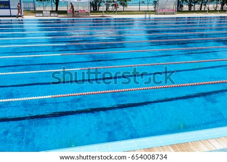 varna bulgaria circa 2017 sports swimming pool with dividing paths for competition without - Olympic Swimming Pool 2017