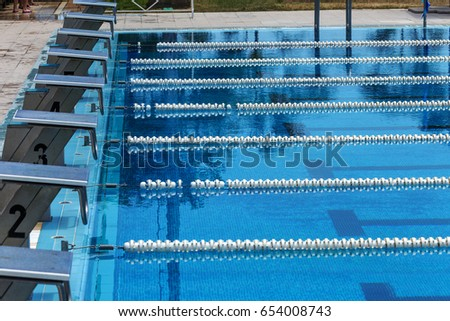 varna bulgaria circa 2017 sports swimming pool with dividing paths for competition without