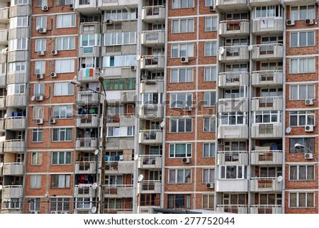 VARNA, Bulgaria, FEB 22, 2015: Old and neglected block of flats. The Bulgarian government is about to run a massive program to renovate blocks with EU funds.