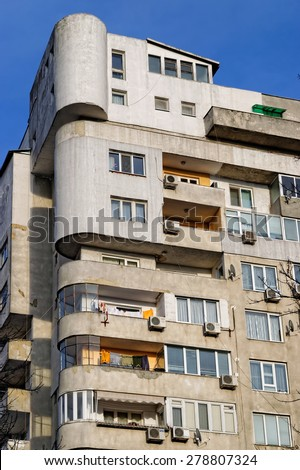 VARNA, Bulgaria, FEB 22, 2015: Old and neglected block of flats. The Bulgarian government is about to run a massive program to renovate blocks with EU funds. - stock photo