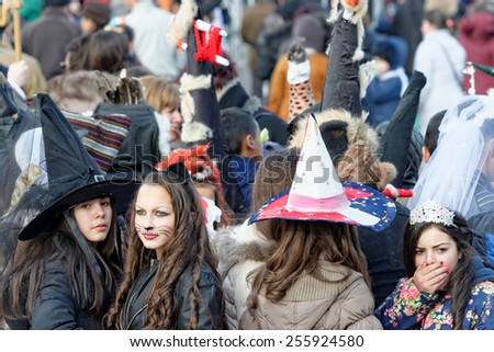 Varna, Bulgaria, FEB 22, 2015: Participants in the renewed annual carnival, celebrating the Orthodox christian holiday Shrovetide (Forgiveness Day).