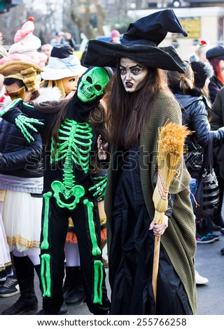 Varna,Bulgaria, February 22, 2015: Festive carnival mask, masquerade and theatrical costume and folk costume on the occasion of the first Sunday before Lent in Varna. - stock photo