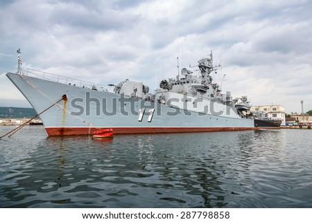 Varna, Bulgaria - July 16, 2014: Frigate Smely of Bulgarian Navy stands in Varna naval base. The Koni class is the NATO reporting name for anti-submarine warfare frigate built by Soviet Union - stock photo