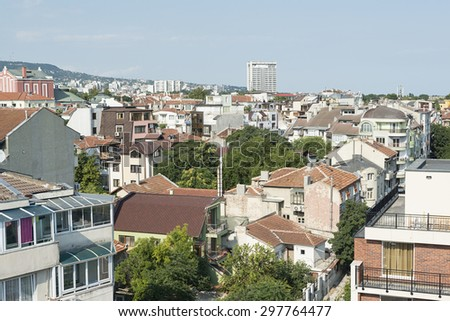 Varna, Bulgaria - July 12, 2015: view of port Varna and the city of Varna in Bulgaria. Black sea coast.