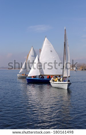 "VARNA, BULGARIA - MARCH 03, 2014: The national sailing boat race ""March the third"", a national competition conducted in the Varna lake with yawl-6 boats."