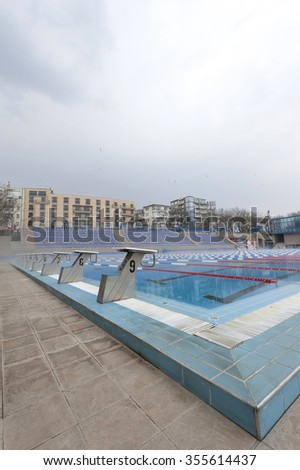 "Varna, Bulgaria - March 27, 2011: water pool ""Julian Rusev "". It was opened on September 13, 2007. The pool size is 25/50 meters and has a modern water treatment plant."