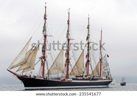 "VARNA, BULGARIA - MAY 03, 2014: Historical seas Tall Ship Regatta 2014. The Russian  tall ship  ""Sedov"" at the Parade of sail in Varna."