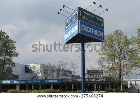 Varna, Bulgaria - May 05, 2015: Logos of Praktiker and Decathlon. Praktiker was a hypermarket chain filed for insolvency in 2013. Decathlon is one of the world's largest sporting goods retailers.