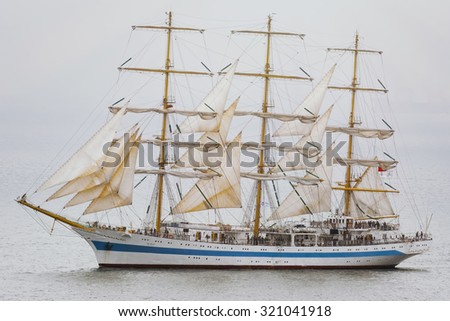 "VARNA, BULGARIA - MAY 3, 2014: Sail Training Ship ""Mir"" from Russia on the SCF Black Sea Tall Ships Regatta 2014 - stock photo"