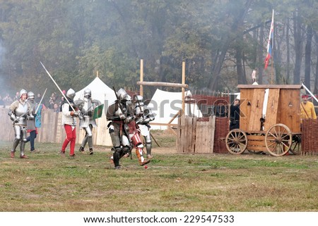 VARNA, BULGARIA - NOVEMBER 08, 2014: Amateur actors enacting the various scenes from the last battle of King Warnenczyk III Warnenczyk against the Ottoman Turks 570 years ago near the town of Varna.