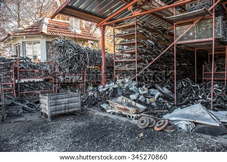 VARNA, BULGARIA - November 16, 2015: Autodismantling auto parts to car dismantling plant near the cemetery. Car morgue. Parts Second hand. Car cemetery