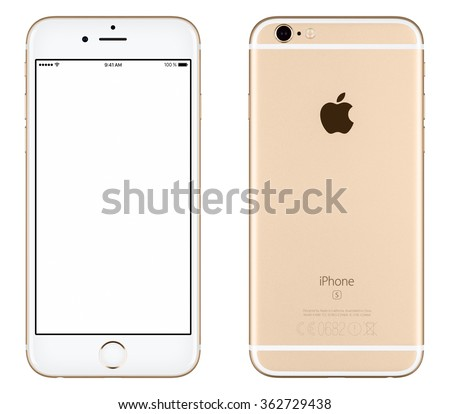 Varna, Bulgaria - October 24, 2015: Front view of Gold Apple iPhone 6S mockup with white screen and back side with Apple Inc logo. Isolated on white. - stock photo