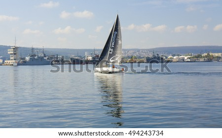VARNA, BULGARIA - OCTOBER 1, 2016:  opening of Black Sea Tall Ships Regatta, sailing ships and yachts of different countries arrive in port of town Varna.