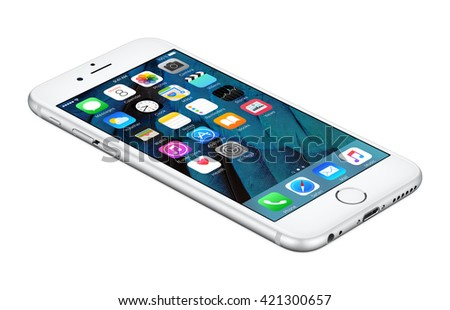 Varna, Bulgaria - October 25, 2015: Silver Apple iPhone 6S lies on the surface with iOS 9 mobile operating system on the screen. Isolated on white.