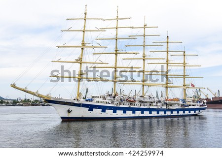 Varna, Bulgaria, 22th May, 2016. Five-masted Royal Clippers sailing ship owned by Star Clippers - maneuvers for mooring at the passenger terminal docks of the harbor.