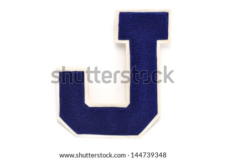 Varsity Letter J Isolated on a White Background - stock photo