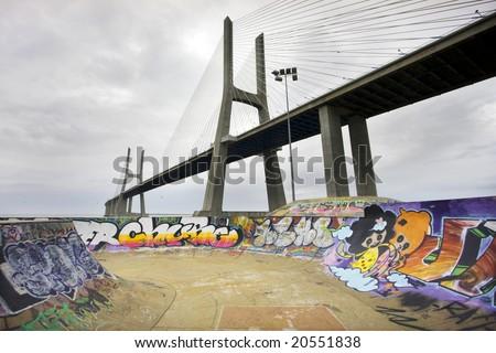 Vasco da Gama Bridge - stock photo