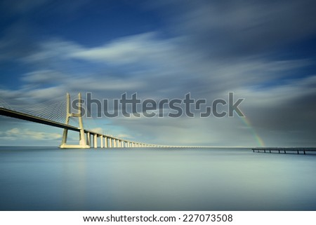 Vasco de Gamma bridge, Lisbon, Portugal - stock photo