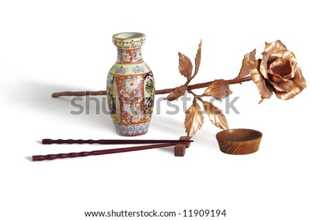 vase and copper flower - stock photo