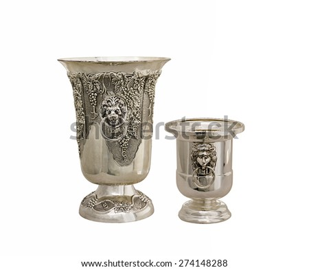 vase from silver on a white background - stock photo