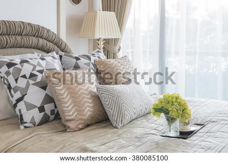 vase of flower on tray in luxury bedroom style - stock photo